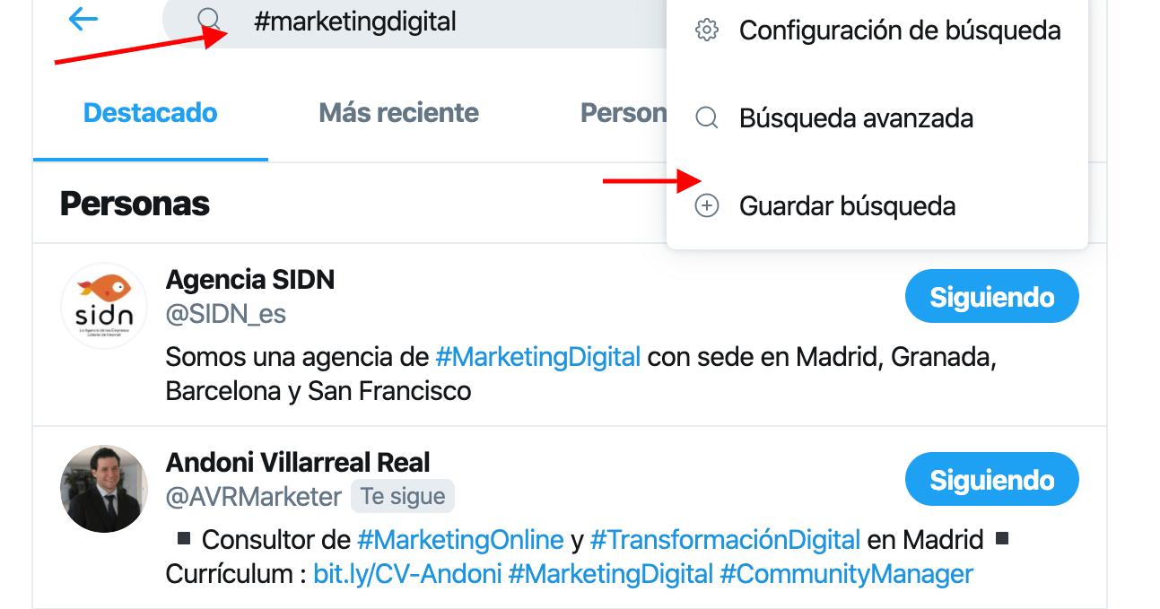 Twitter en empresas ejemplo de búsquedas