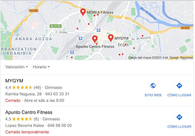 Gimnasios de Irún en Google Maps