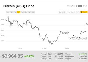 Grafica fluctuación precio del bitcoin