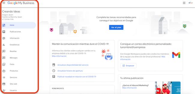 Panel de Google My Business