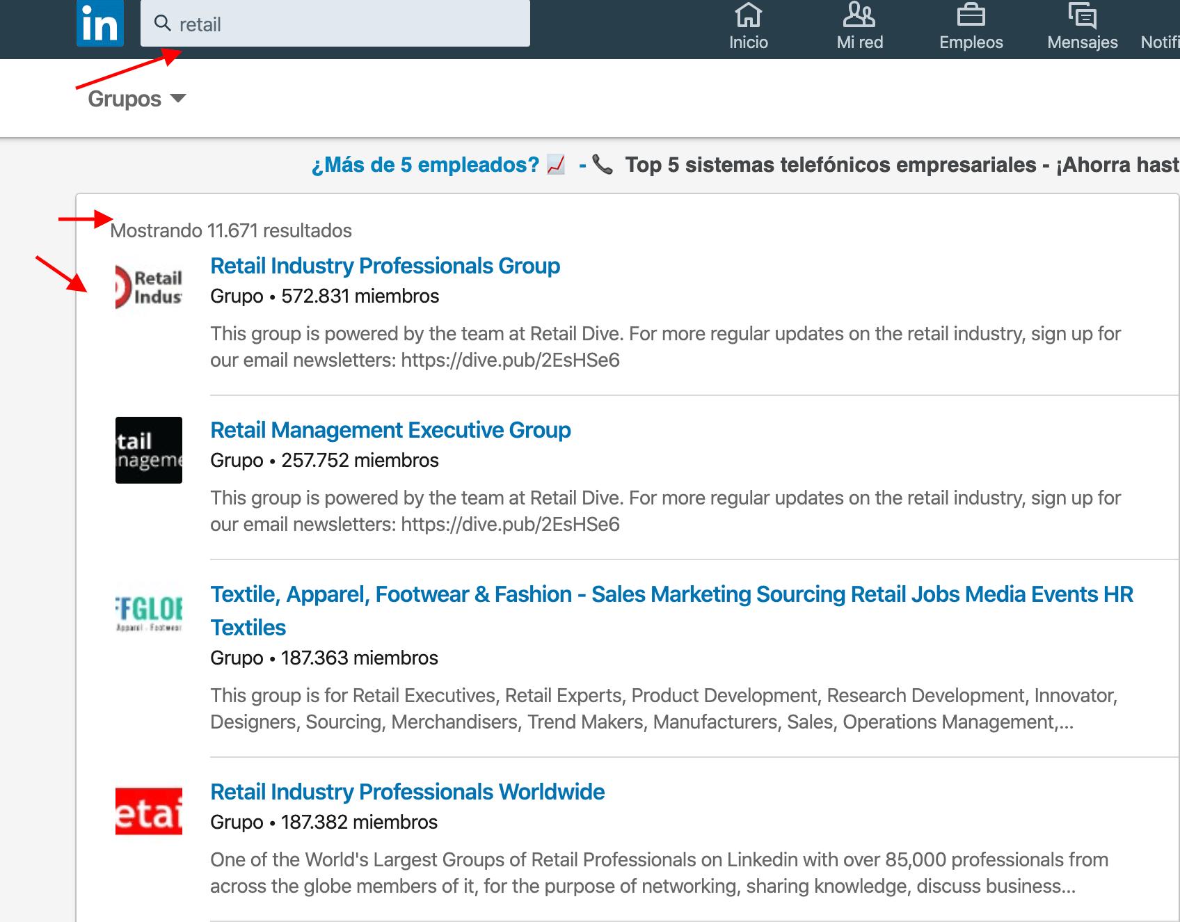 Ejemplo prospectar en los grupos de LinkedIn