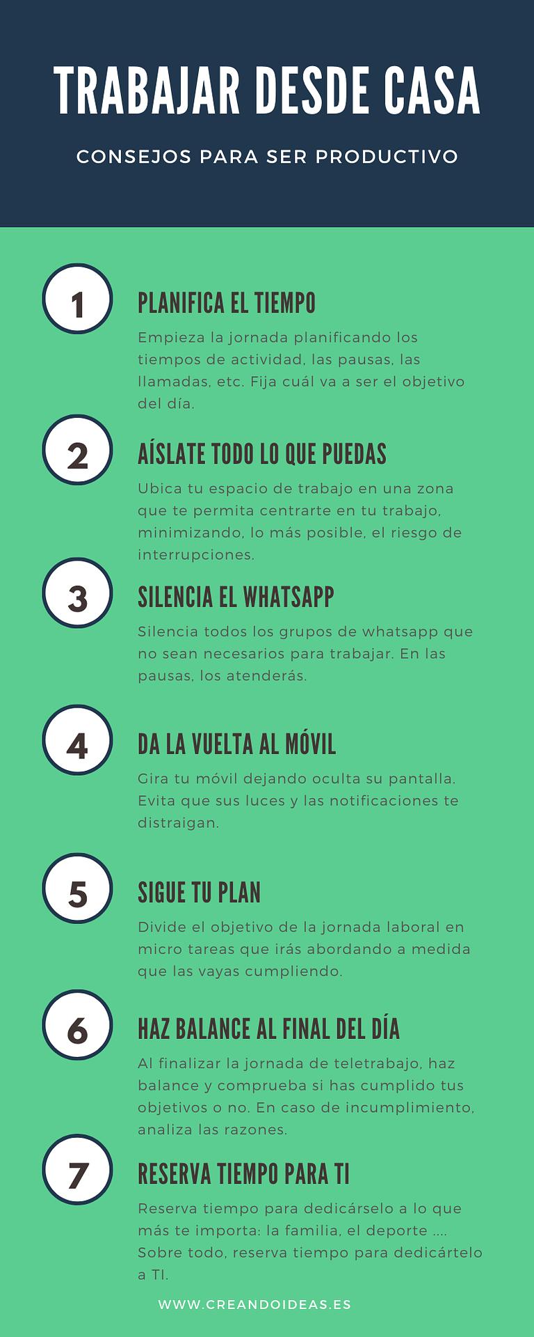 Infografía con consejos para trabajar desde casa
