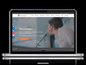 Sonotrack Sistemas página web en un portatil