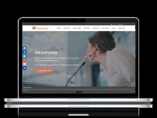 Página web de Sonotrack en un portátil en el caso de éxito de marketing industrial