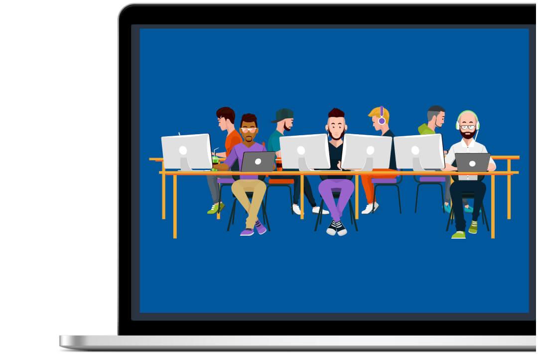 Jóvenes con ordenadores utilizando recursos de marketing digital