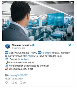 Tweet siemens para atraer clientes