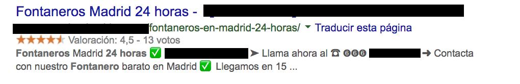 ejemplo meta descripción con emojis Fontaneros 24h