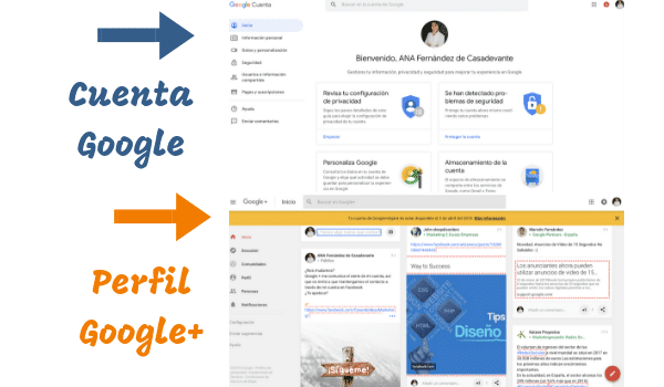 Cuenta de google versus perfil de google plus